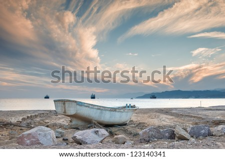 Northern beach of Eilat after storm, Israel - stock photo