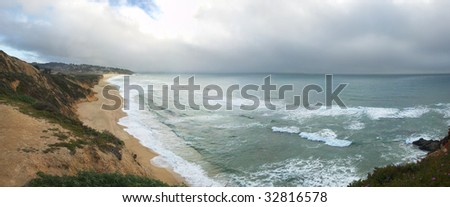 Northern California coast with clouds over the Pacific. - stock photo