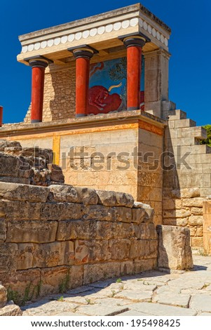 Northern entrance to Knossos palace, island of Crete. Greece. - stock photo
