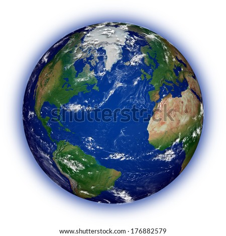 Northern hemisphere on blue planet Earth isolated on white background. Highly detailed planet surface. Elements of this image furnished by NASA. - stock photo