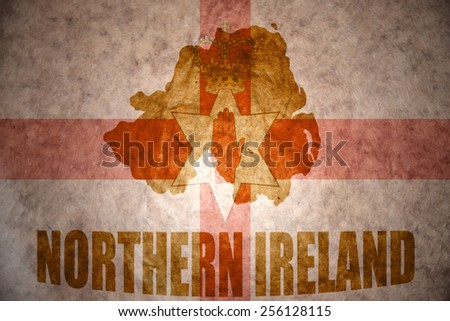 northern ireland map on a vintage northern ireland flag background - stock photo