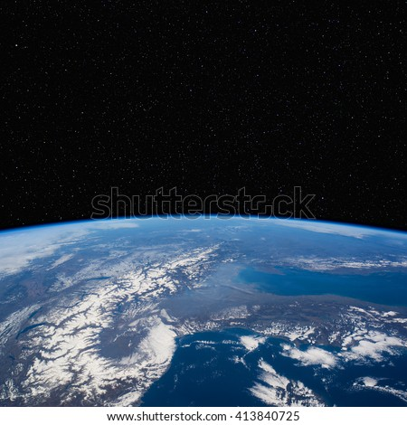Northern Italy and the Alps from space with stars above. Elements of this image furnished by NASA.  - stock photo