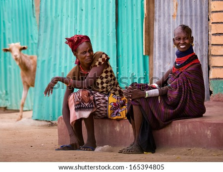NORTHERN KENYA-JAN 07:Turkana woman in traditional clothes Jan 7, 2013. The Turkana people are the second largest of the pastoral people of Kenya.They occupy  an area of about 67,000 square kilometers - stock photo