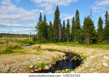 Northern landscape. Blue river and the blue sky