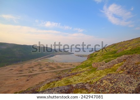 Northern landscapes on shores of the Barents sea. Leviathan movie location - stock photo
