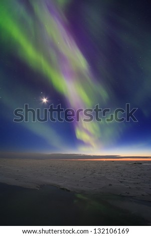 Northern lights above Kvarken in Finland - stock photo