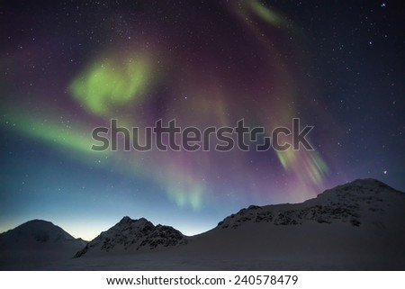 Northern Lights - Arctic mountains - stock photo