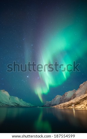 Northern Lights as seen from Ersfjordbotn, Norway - stock photo