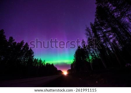 Northern lights (Aurora borealis) in Russia. Izhevsk 17.03.2015 - stock photo
