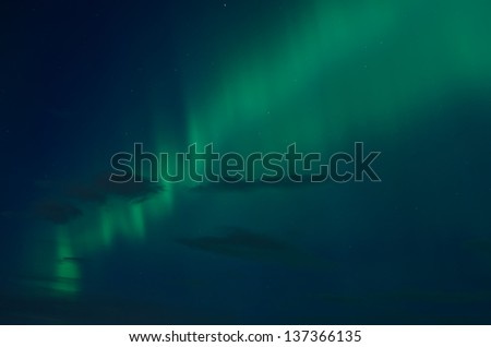 Northern lights (aurora borealis) in the sky in Scandinavia - stock photo