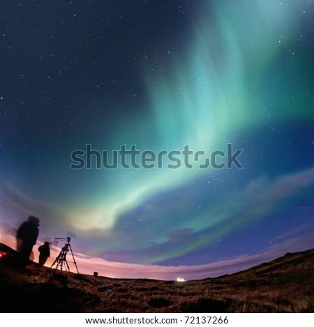 Northern Lights (Aurora Borealis) Over Iceland, Febuary 2011.  grainy image - stock photo
