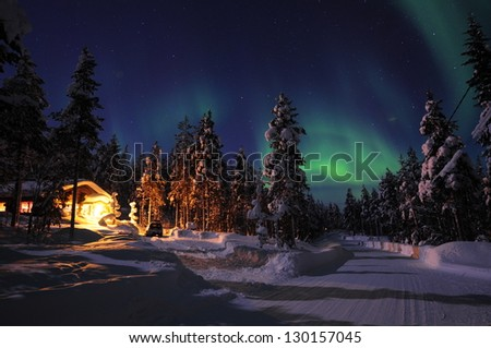 Northern lights in Lapland - stock photo