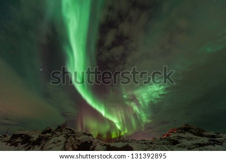 Northern Lights in Sommar�¸y, Troms�¸, Norway - stock photo