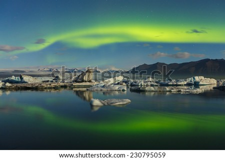 Northern lights over J�¶kulsarlon, Iceland - stock photo