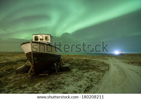 northern lights over lofoten islands, norway - stock photo