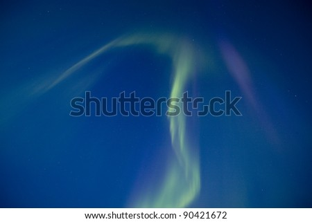 Northern Lights Saskatchewan Canada vibrant green shape - stock photo