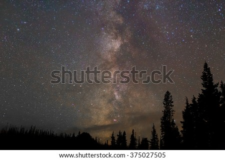 Northern Lights showing faintly amidst stars and the Milky Way galaxy at night in Oregon. - stock photo