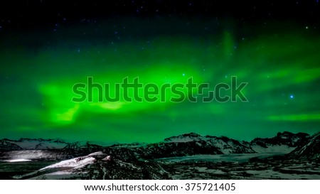 Northern Lights Southern Iceland - stock photo