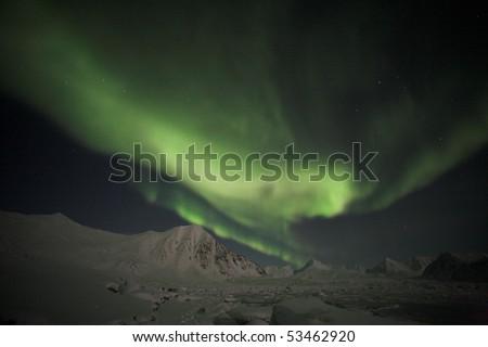 Northern Lights, Spitsbergen - stock photo