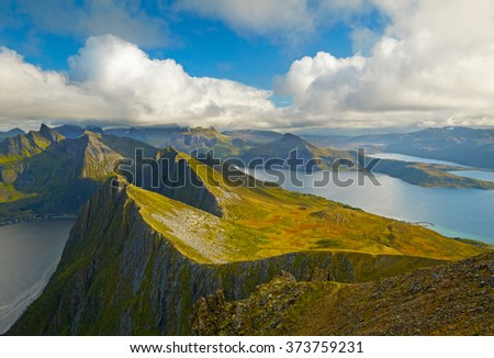 Northern Norway landscapes. Sunset on Lofoten islands - stock photo
