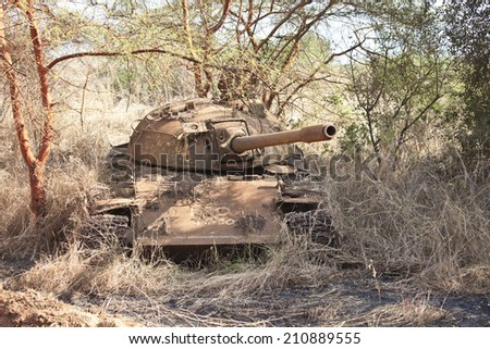 Northern Sudanese tank destroyed in civil war in South Sudan - stock photo