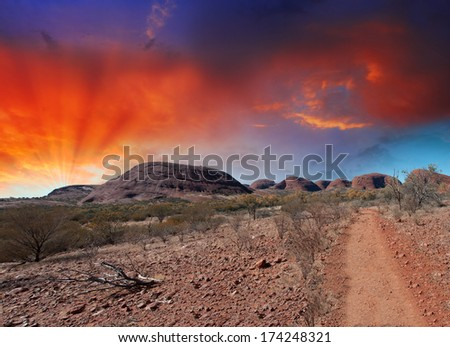 Northern Territory, Australia. Shapes of outback mountains and arid desert. - stock photo