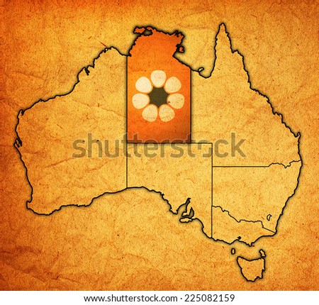northern territory flag on map of australia with administrative divisions - stock photo