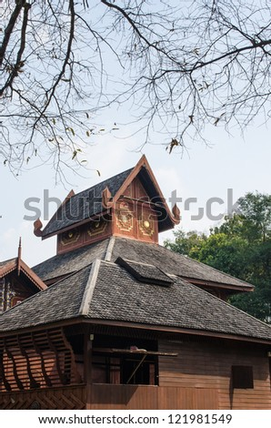 Northern Thai architecture in ancient buddhist temple in Phrae provine, Thailand. - stock photo