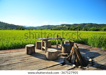 Northern Thai House Among The Rice Field - stock photo