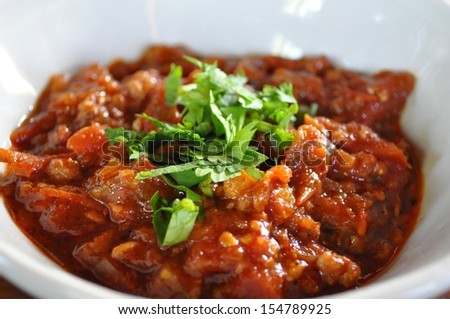 Northern Thai style Tomato and minced pork dip - Nam prigg ong