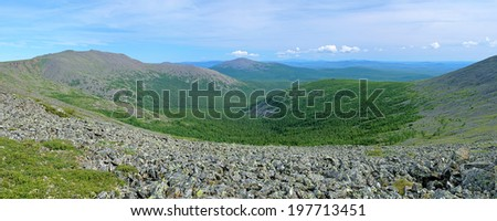 Northern Ural Mountains, Panoramic view of Iov Mount, Burtym Mount, slope of Serebryanskiy Rock Mount and valley of Poludnevaya river, Russia