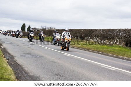 NORTHUMBERLAND, ENGLAND, APRIL 4 2015. Blyth Valley Motorcycle Action Group. Easter Egg Run. Ends at Seaton Delaval. April 4  2015. Northumberland, England, UK.