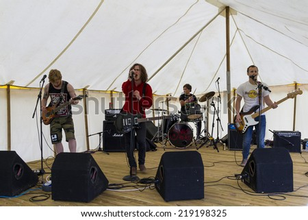 NORTHUMBERLAND, ENGLAND, AUGUST 30, 2014, Rock Band, Snake Head, perform at fund raising event in aid of Great North Air Ambulance. August 30, 2014. Northumberland, England, UK.