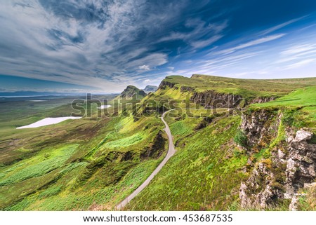 Northwest Part of Quiraing Hill - The Table, on the Isle of Skye in Scotland - stock photo