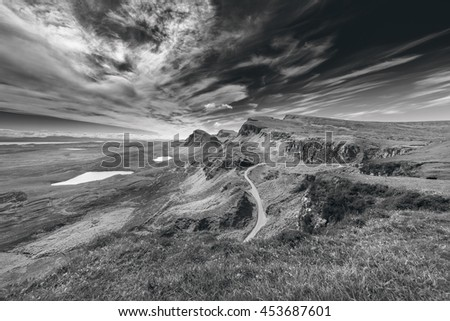 Northwest Part of Quiraing Hill - The Table, on the Isle of Skye in Scotland - Black and White Edit - stock photo