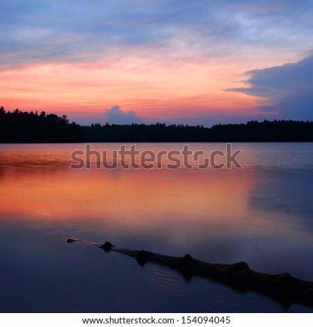 Northwoods Wisconsin Sunset - stock photo