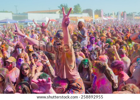 Norwalk, California, USA - March 7, 2015: People celebrating during the Holi Festival of Colors