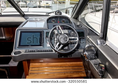 NORWALK, CT - SEPTEMBER 25: Princess yachts interior  at Norwalk boat show in September 25, 2015 in Norwalk, CT. - stock photo
