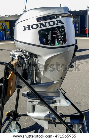 NORWALK- SEPTEMBER 25: Honda engine exhibit at Norwalk boat show  in Norwalk, USA on September 25, 2016
