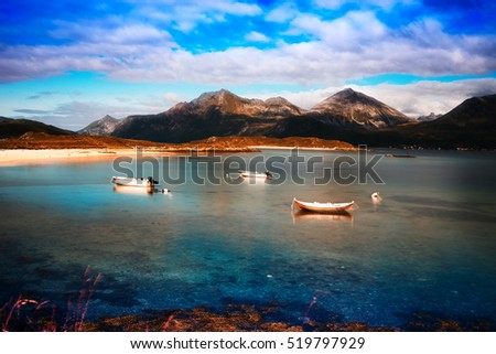 Norway boats near fjord landscape background