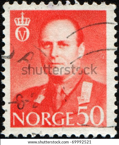 NORWAY - CIRCA 1959: A stamp printed in Norway shows  King Haakon VII, circa 1959