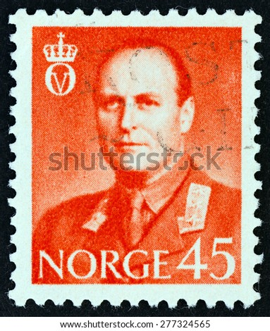 NORWAY - CIRCA 1958: A stamp printed in Norway shows King Olav V, circa 1958.