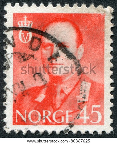 NORWAY - CIRCA 1958: A stamp printed in the Norway, depicts King Olav V, circa 1958