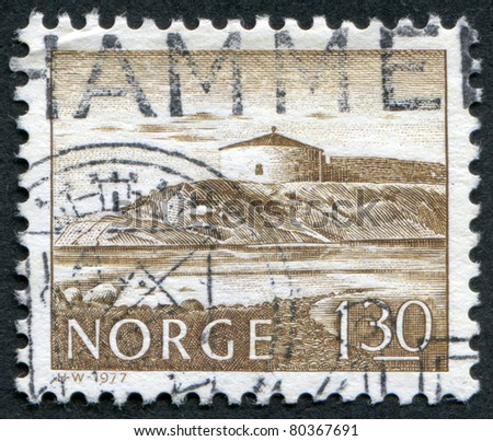 NORWAY - CIRCA 1977: A stamp printed in the Norway, is shown Steinvikholm Castle, circa 1977 - stock photo