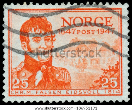 NORWAY - CIRCA 1947: A stamp printed in the Norway, shows Christian Magnus Falsen, circa 1947  - stock photo