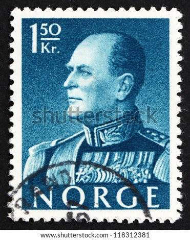 NORWAY - CIRCA 1959: a stamp printed in the Norway shows King Olav V, circa 1959