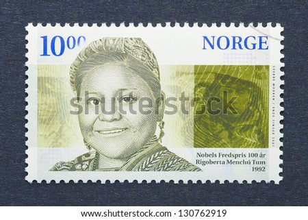NORWAY � CIRCA 2001: postage stamp printed in Norway showing an image of Nobel Peace prize winner Rigoberta Menchu, circa  2001. - stock photo