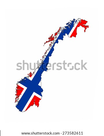 norway country flag map shape national symbol - stock photo
