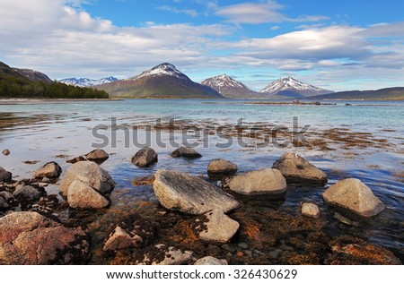 Norway fjord at spring - stock photo