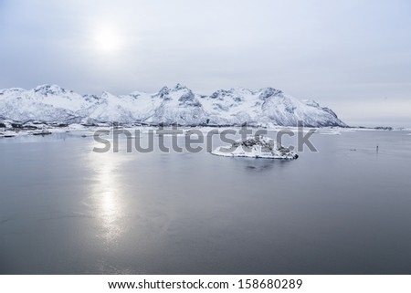 norway fjord in lofoten iceland - stock photo